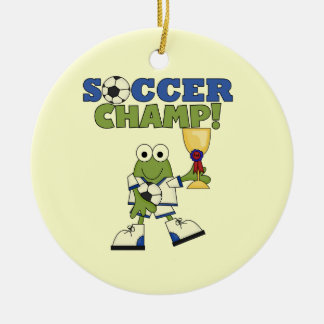 Frog Soccer Champ T-shirts and Gifts Round Ceramic Decoration