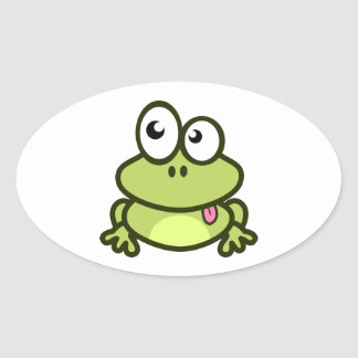 Frog Sticking Out Its Tongue Oval Sticker