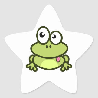 Frog Sticking Out Its Tongue Star Sticker