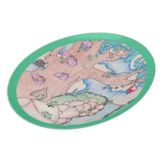 Frog Summer on Tree w Green Trim Melamine Plate