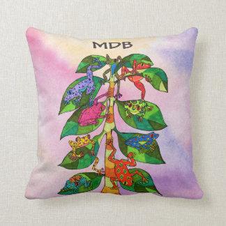 Frog Tree of Life Watercolor Monogram Cushion
