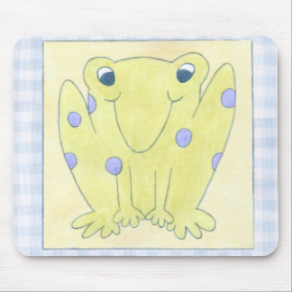 Frog Trio on Gingham Cloth Mouse Mat