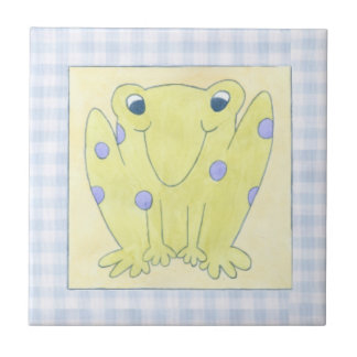 Frog Trio on Gingham Cloth Small Square Tile