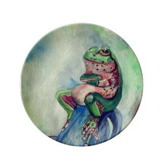 Frog watercolor 21.6 cm Decorative Porcelain Plate
