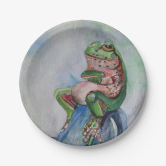 Frog Watercolor  Paper Plates 7''