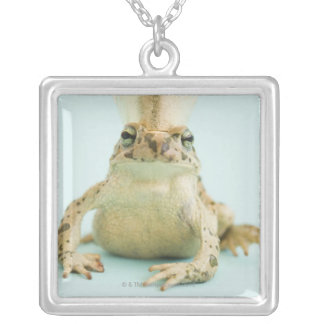 Frog wearing crown square pendant necklace