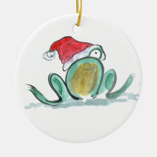 Frog wears a Santa style hat for Christmas Round Ceramic Decoration