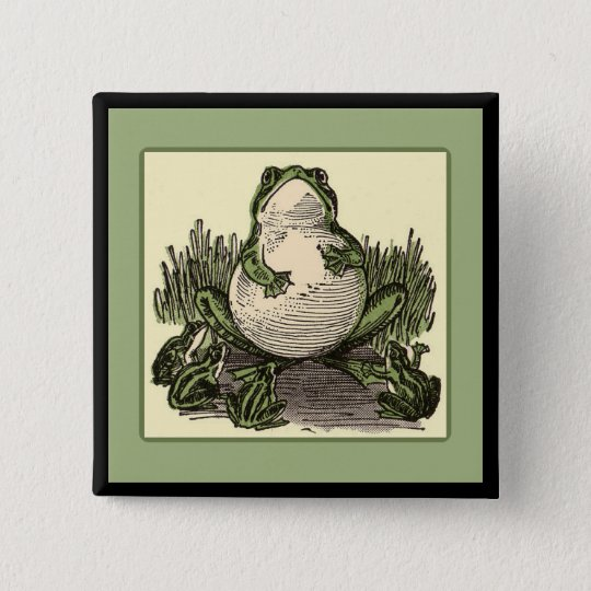 Frog with Baby Frogs 15 Cm Square Badge