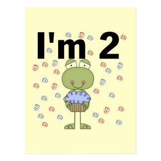 Frog With Cupcake 2nd Birthday Tshirts Postcard