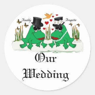 Frogette Frog ~ My Wedding Round Sticker