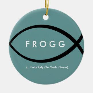 FROGG (Fully Rely On God's Grace) Mod Onament Round Ceramic Decoration