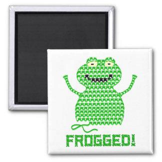 Frogged! Vector Crochet Frog Fridge Magnets