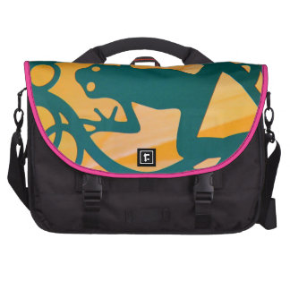 Froggie Goes A-Dancing,  Green Yellow Pink Frog Laptop Messenger Bag