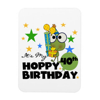 Froggie Hoppy 40th Birthday Rectangular Photo Magnet