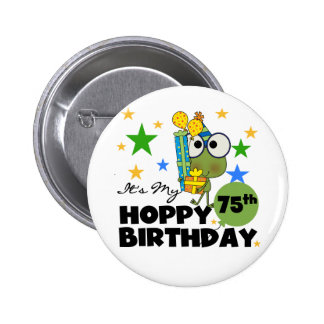 Froggie Hoppy 75th Birthday 6 Cm Round Badge