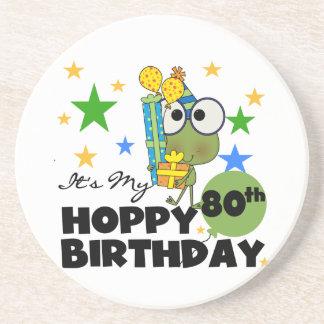 Froggie Hoppy 80th Birthday Coaster