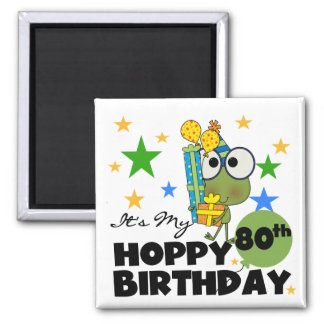 Froggie Hoppy 80th Birthday Magnet