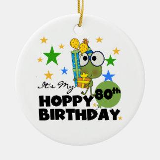 Froggie Hoppy 80th Birthday Round Ceramic Decoration