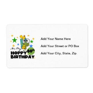 Froggie Hoppy 80th Birthday Shipping Label