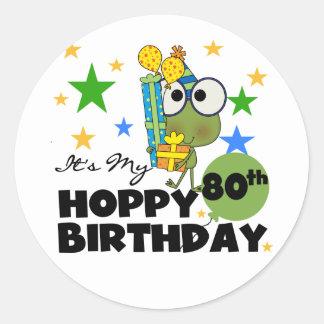 Froggie Hoppy 80th Birthday Round Sticker