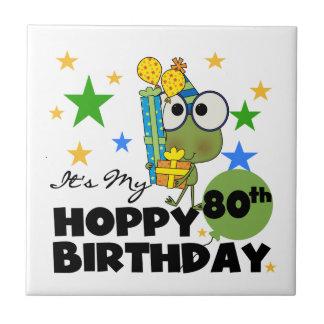 Froggie Hoppy 80th Birthday Ceramic Tiles