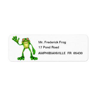 Froggie the Cute Cartoon Waving Frog Return Address Label