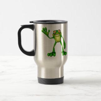 Froggie the Cute Cartoon Waving Frog Travel Mug