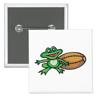 froggy and football 15 cm square badge