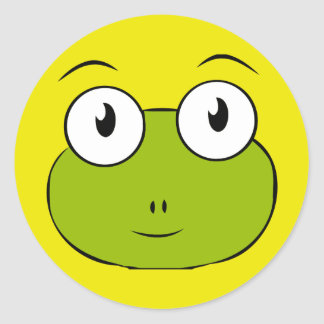 froggy face round sticker