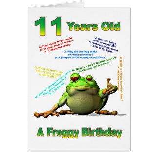 Froggy friend 11th birthday card with froggy jokes