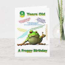 Froggy friend 9th birthday card with froggy jokes