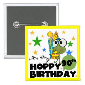 Froggy Hoppy 90th Birthday 15 Cm Square Badge