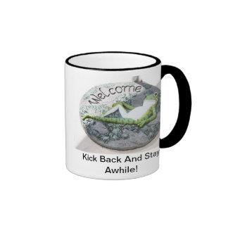 """Froggy Says, """"Kick Back And Stay Awhile!"""" Ringer Mug"""