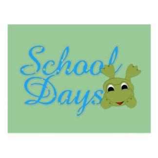 Froggy School Days blue Post Cards
