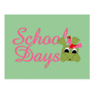 Froggy School Days pink Post Cards