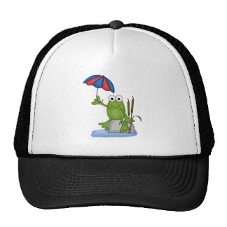 froggy sitting under umbrella hats