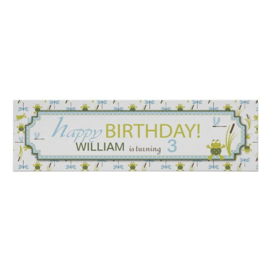 Frogs and Dragonflies Birthday Banner Poster