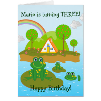 Frogs  and Happy Birthday wishes Card