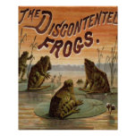 Frogs and Lily Pads Vintage Poster