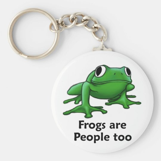 Frogs are people too basic round button key ring