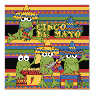 Frogs Cinco de Mayo Custom  Birthday Invitations