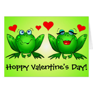 Frogs Cute Funny Hoppy Valentines Day Greeting Card