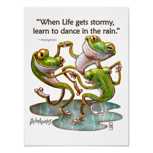 Frogs Dancing in Rain With Quote Art Print