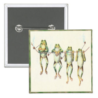 Frogs in a Line 15 Cm Square Badge
