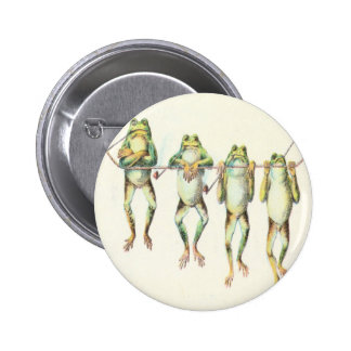 Frogs in a Line 6 Cm Round Badge