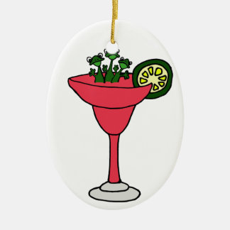 Frogs in Margarita Glass Ceramic Oval Decoration