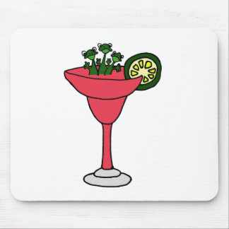 Frogs in Margarita Glass Mouse Pads