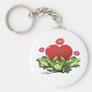 Frogs & Kisses - Valentine Basic Round Button Key Ring