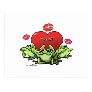 Frogs & Kisses - Valentine Postcard