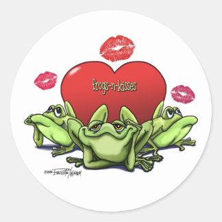 Frogs & Kisses - Valentine Round Sticker
